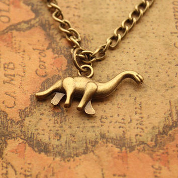 dinosaur necklace,retro bronze Mini dinosaur,alloy necklace---N071