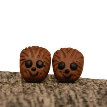 Chewbacca Earrings, star wars earrings, star wars jewelry, star wars gift, stud earrings, Chewbacca, disney earrings, Disney jewelry