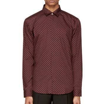 Burberry London Mahogany Red Floral Print Button-up Shirt