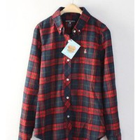 Women Spring Summer British Style Lattice Red Cotton Long Sleeve Shirt M/L/XL@WH0012r $22.49 only in eFexcity.com.