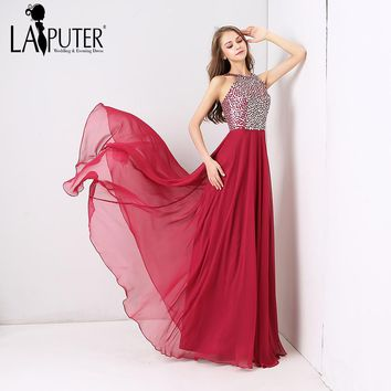 LAIPUTER Custom Made New Hot Sale Hot Pink Colorful Crystal Amazing Chiffon Long Elegant Cheap Evening Prom Dresses 2018 New