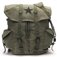 Olive Drab - Classic Army Style Backpack w/Black Star Emblem