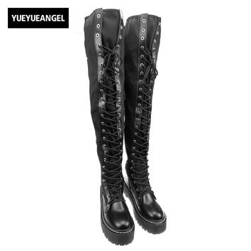New Punks Fashion Womens Leather Platform Shoes Creepers For Woman  Lace Up Over The Knee High Riding Boots Black Stretchy Boots
