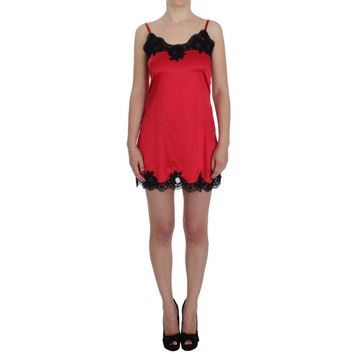 Dolce & Gabbana Red Black Silk Lace Lingerie Dress