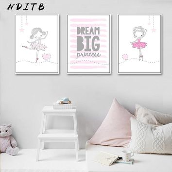 Ballet Dance Girl Baby Nursery Wall Art Canvas Poster and Prints Pink Cartoon Painting Nordic Kids Decoration Picture Room Decor