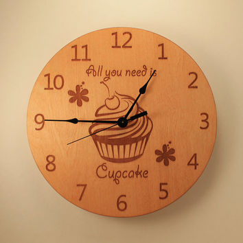 Cupcake laser cut clock Kitchen clock Wood clock Wall clock Wooden wall clock Home clock Cupcake lover's gift Flower decor Cupcake design