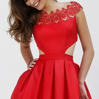 Short Cap Sleeve Dress with Cut Outs by Sherri Hill