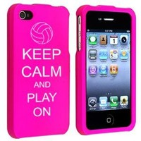 Apple iPhone 4 4S Hot Pink Rubber Hard Case Snap on 2 piece Keep Calm and Play On Volleyball