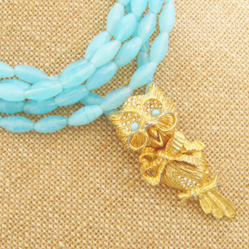 Aqua Owl Statement Necklace - Vintage Gold Owl Aqua Blue Dyed Jade Necklace Wedding, Bridal, Bridesmaid, Beach, Preppy Nautical