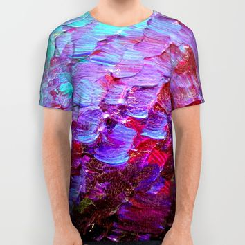 MERMAID SCALES - Colorful Ombre Abstract Acrylic Impasto Painting Violet Purple Plum Ocean Waves Art All Over Print Shirt by EbiEmporium