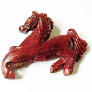 Wood Horse Brooch, Antique Horse Brooch, Carved Horse Pin, Red Brown, Collectible Antique Jewelry, Art Deco, Figural, Exquisite Detail