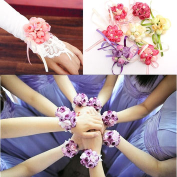 Wrist Corsage Bracelet Bridesmaid sisters hand flowers Wedding Party Bridal Prom = 1929659716