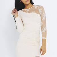 Cream Long Sleeve Fitted Dress with Lace Inserts