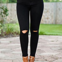 Hey Girl Hey Slit Jeans-Black - NEW ARRIVALS