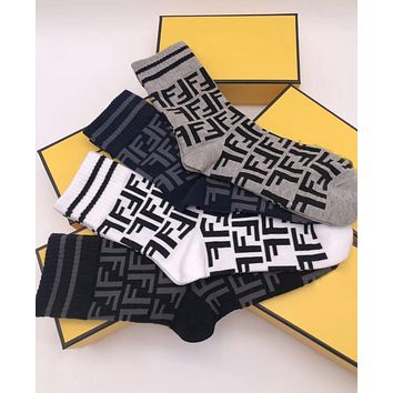 FENDI Trending Unisex Stylish Full F Letter Casual Cotton Sport Socks - Boxed