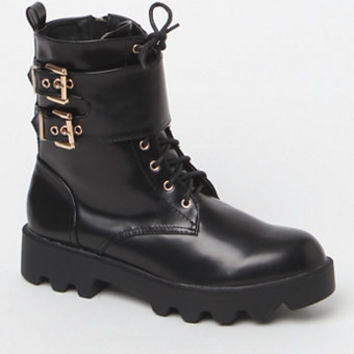 NYLA Shoes Buckled Faux Leather Combat Boots at PacSun.com