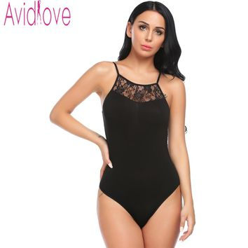 Avidlove sexy backless lace bodysuit Perspective black skinny fringe jumpsuit romper women Summer party playsuits coveralls