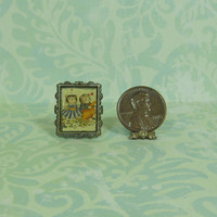 Dollhouse Miniature Standing Frame with Kitty Cucumber Pair Print