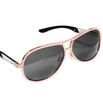 Custom Black Frame Iced Out Rose Gold Finish Men's Sunglasses