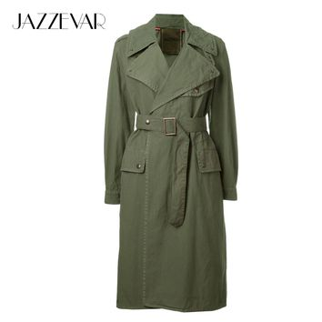 JAZZEVAR 2017 Spring New high fashion brand Women's Casual Cotton Trench army green raincoat outerwear good quality