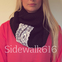Black Knit Lace Applique Infinity Scarf