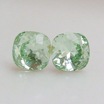 Clear Mint Green... Swarovski Crystal... Cushion Cut Square Post / Stud Earrings... Chrystolite Green