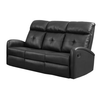 Reclining-Loveseat Black Bonded Leather