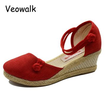 Solid Color Close Toe Women Casual Linen Canvas Wedge Sandals Summer Fashion Ankle Strap Med Heel Ladies Platform Pump Shoes