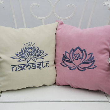 Personalized Pillow Covers Lotus Flower Namaste Yoga Meditation Pillowcase Decorative Pillow Cover Throw Pillows Yoga Studio Decor Gift V32