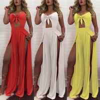 Pndodo Hollow Out High Split Braces Backless Off Shoulder Jumpsuits Mujer Casual Romper Party Night Club Rompers Women Jumpsuits