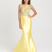 Madison James 16-410 In Stock Yellow Size 8 Beaded High Neck Mermaid Prom Pageant Dress