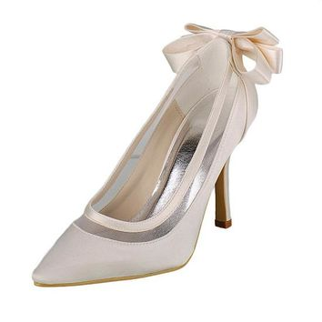 [45.04] Elegant Satin Upper Closed Toe Stiletto Heels Bridal Shoes With Bowknot - dressilyme.com