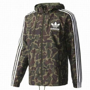 "Gotopfashion ""Adidas"" Men Women Fashion Loose Camouflage Print Zip Cardigan Jacket Coat Sweatshirt Hoodie"