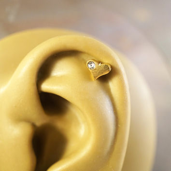 Gold Heart Cartliage Earring Tragus Conch Helix Piercing