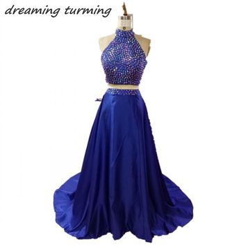 Dreaming Truing 2/Two Pieces Prom Dresses Long Royal Blue Beaded High Neck Hollow Back Women Evening Party Gowns For Wedding