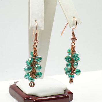 Teal Crystal Wire Wrapped Earrings