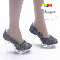 "Clear Stiletto Platform High-Heel Glitter Pumps Shoes Glitter Silver/Black for 22"" Tonner American Model Dolls"