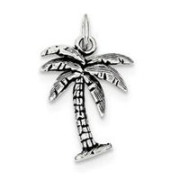 Antiqued Palm Tree Charm in Sterling Silver