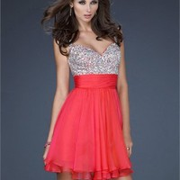 Beaded Bodice Sweetheart Layered Short Homecoming Dress PD1890