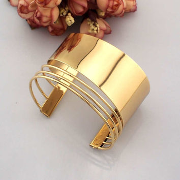 Gold & Silver Colors Cuff Bangles Bracelets
