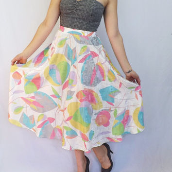 Vintage 80s 90s Chick White Tulip Floral Maxi Skirt Wide Flouncy Breezy Summer A-Line Hipster Beach Silky Gray Pink Hip Hop Long Tropical