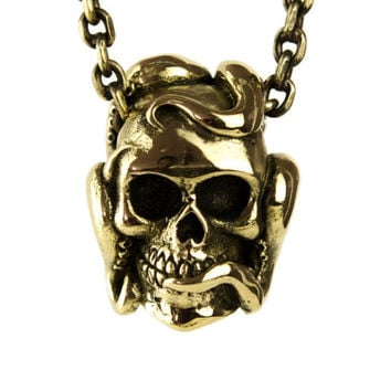 Octopus Tentacle Anatomic Human Skull Necklace Jewelry Golden Tone Bronze Pendant Gothic Steampunk - FPE011 YB/WB/SS