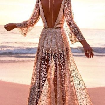 Get Up And Glimmer Sheer Mesh Gold Glitter Long Sleeve Plunge V Neck Maxi Dress - 2 Colors Available