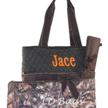 Camo Woods Brown Trim Diaper Baby Bag with Free Monogramming