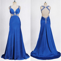 2014 Road Blue V-Neck Beading Shoulder Straps See Through Waist Cross Back A-Line Bridesmaid Dress, Court Train Chiffon Evening Prom Dress