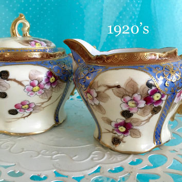 Antique Sugar and Creamer, Noritake Japan, Hand Painted Vintage China, Tea Party, Blue Wedding Decor Gift, Shabby Chic Decor