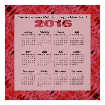 Red Texture Pattern 2016 Yearly Calendar Poster