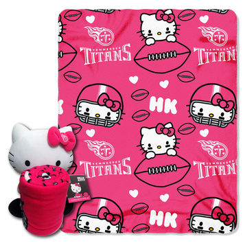 Titans  40x50 Fleece Throw and Hello Kitty Character Pillow Set