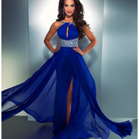 Mac Duggal Prom 2013 - Electric Blue High Neck Chiffon Dress - Unique Vintage - Cocktail, Pinup, Holiday & Prom Dresses.
