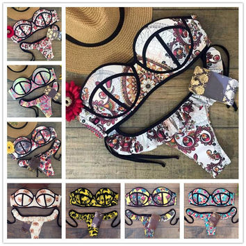 2016 New Arrive Summer Bikinis Hot Sale Push Up Bikini Set Sexy Women Swimwear Print Swimsuit Bathing Suit Biquini B108